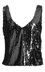 Sally Lapointe Stretch Sequin Scoop Neck Tank Black