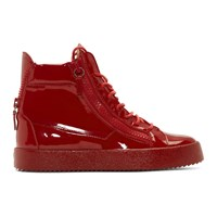 Giuseppe Zanotti Red Patent May London High Top Sneakers