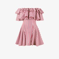 House Of Holland Gingham Off Shoulder Dress Red