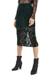 Topshop Velvet Mesh Pencil Skirt Green