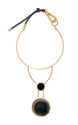 Marni Gold Tone Resin Necklace Green