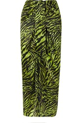 Ganni Tie Front Tiger Print Silk Blend Satin Midi Skirt Green