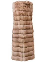 Liska Malva Long Fur Gilet Nude And Neutrals