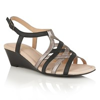 Lotus Ambra Wedge Sandals Black