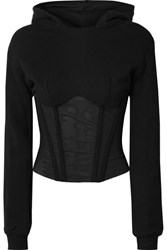 Rta Apollo Cropped Cotton Jersey And Tulle Hoodie Black