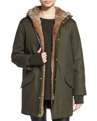 Zadig And Voltaire Kar Deluxe Jacket With Fur Lined Vest Kaki Naturel