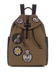 Alexander Mcqueen Badge Applique Canvas Backpack Green Multi