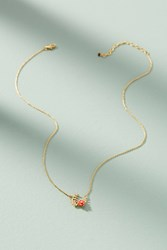 Anthropologie Flora Wreath Pendant Necklace Red
