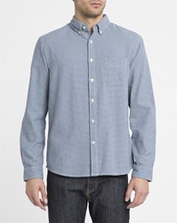 Edwin Blue And White Button Down Standard Houndstooth Cotton Shirt