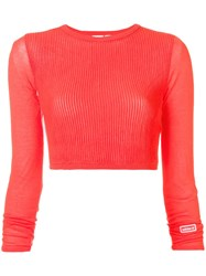 Adidas Cropped Ribbed Knit Jumper Pink