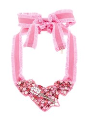 Red Valentino Heart Crystal Necklace Pink