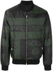 Versace Collection Baroque Print Bomber Jacket Polyester Green