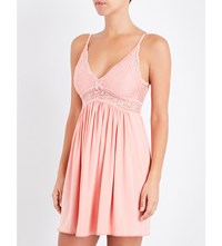 Eberjey Colette Jersey And Stretch Lace Chemise Guava Punch