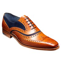 Barker Mcclean Goodyear Welted Leather Brogue Shoes Cedar Blue