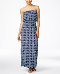 Trixxi Juniors' Strapless Printed Maxi Dress Navy Mint