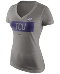 Nike Women's Tcu Horned Frogs Dri Blend Tailgate V Neck T Shirt Gray
