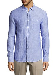 Report Collection Classic Fit Linen Shirt Royal Blue