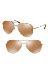 Tory Burch 59Mm Thin Polarized Metal Aviator Sunglasses Brown Gold Brown Gold