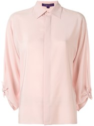 Ralph Lauren Bow Sleeve Fitted Shirt Pink And Purple