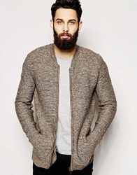 Asos Knitted Bomber With Horizontal Ribs Mink