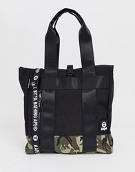 Aape By A Bathing Ape Tote Bag With Camo Panel In Black