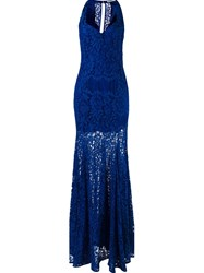 Martha Medeiros Lace Maxi Dress Blue