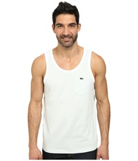 Lacoste Live Cotton Jersey With Contrast Trim Tank Top Pale Green White Men's Sleeveless