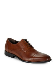 Kenneth Cole Reaction Sling N Arrow Texture Accented Oxfords Cognac