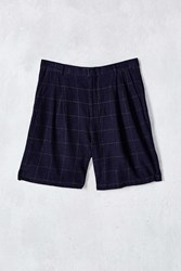 Shades Of Grey By Micah Cohen Windowpane Pleated Short Navy