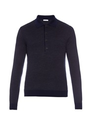 Tomas Maier Hound's Tooth Wool Polo Shirt