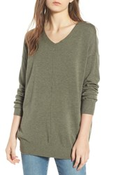 Dreamers By Debut Exposed Seam Sweater Heather Med Olive