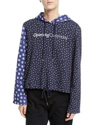 Opening Ceremony Cropped Floral Print Cotton Logo Hoodie Black Pattern