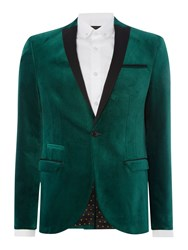 Label Lab Bramley Velvet Blazer With Contrast Lape Green