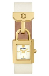 Tory Burch Women's 'Surrey' Leather Strap Watch 22Mm X 24Mm Ivory Gold