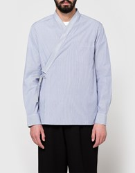 3.1 Phillip Lim Ls Kimono Shirt With Floral Embroidery Blue