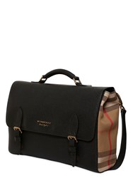 Burberry Check Canvas And Leather Messenger Bag