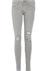 Rag And Bone The Skinny Distressed Mid Rise Jeans Light Gray