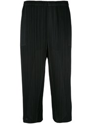 Issey Miyake Pleats Please By Pleated Cropped Trousers Women Polyester 5 Black