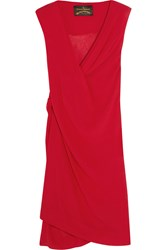 Vivienne Westwood Stitch Draped Crinkled Georgette Dress Red