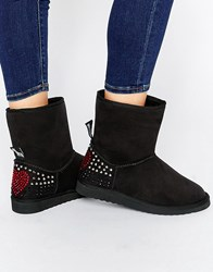 Love Moschino Black Embellished Faux Suede Pull On Boots Black 000