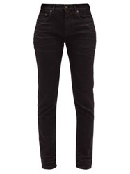 Saint Laurent Distressed Slim Fit Cotton Jeans Black