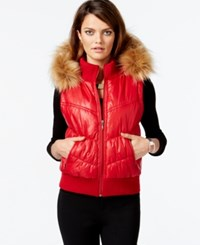 Inc International Concepts Faux Fur Trim Puffer Vest Only At Macy's Glamorous Red
