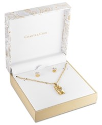 Charter Club Gold Tone Crystal Mom Pendant Necklace And Stud Earrings Set 15 3 Extender