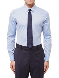 Jaeger Dobby Textured Slim Fit Shirt Blue