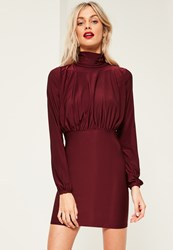 Missguided Burgundy Slinky High Neck Open Back Ruched Dress Raspberry