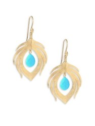 Annette Ferdinandsen Fauna Peacock Feather Natural Turquoise And 14K Yellow Gold Earrings