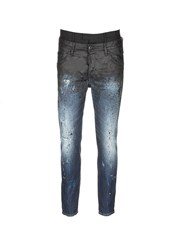 Dsquared 'Skater' Double Waistband Paint Splatter Jeans Blue