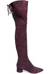 Sigerson Morrison Zetan Lace Up Suede Over The Knee Boots Burgundy