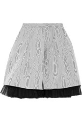 Marc By Marc Jacobs Moulded Tulle Trimmed Printed Taffeta Mini Skirt Gray