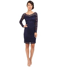 Rsvp Short Margaux Lace Long Sleeve Dress Navy Women's Dress